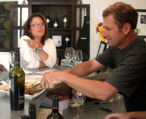 CIA Instructor Brenda Anderson LaNoue and winemaker Mike Lancaster discuss food and wine pairings for a Tin Barn Open House.